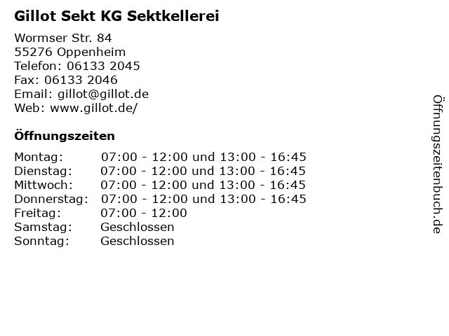 Gillot Sekt KG Sektkellerei in Oppenheim: Adresse und Öffnungszeiten