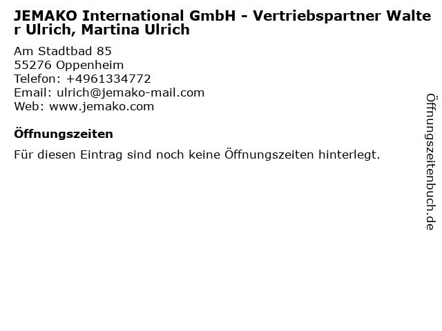 JEMAKO International GmbH - Vertriebspartner Walter Ulrich, Martina Ulrich in Oppenheim: Adresse und Öffnungszeiten