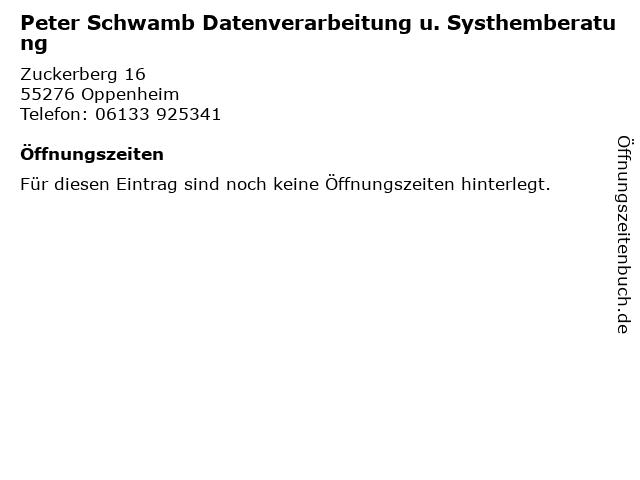 Peter Schwamb Datenverarbeitung u. Systhemberatung in Oppenheim: Adresse und Öffnungszeiten