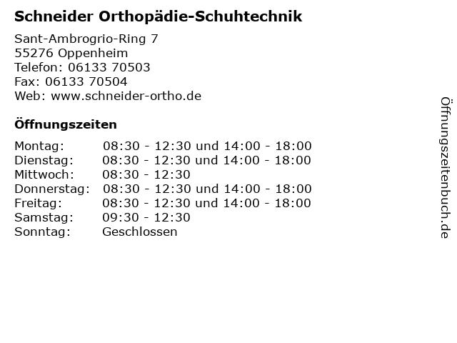 Schneider Orthopädie-Schuhtechnik in Oppenheim: Adresse und Öffnungszeiten