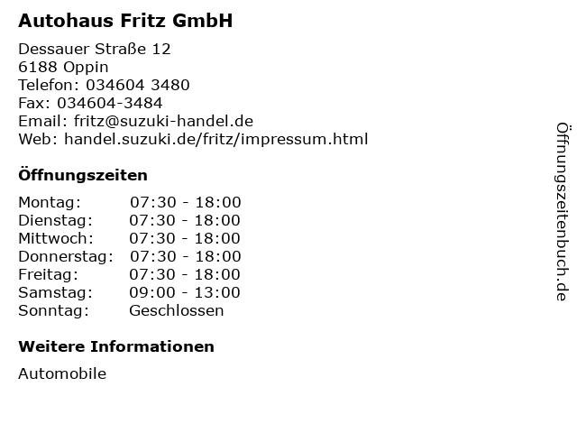 Autohaus Fritz GmbH in Oppin: Adresse und Öffnungszeiten