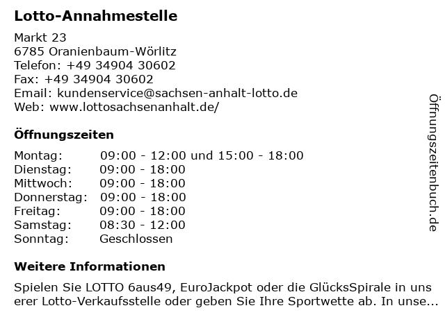Lotto-Annahmestelle in Oranienbaum-Wörlitz: Adresse und Öffnungszeiten