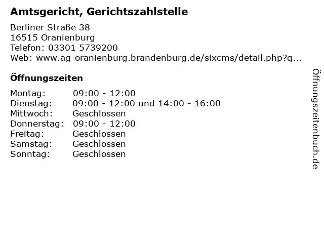 Amtsgericht, Gerichtszahlstelle in Oranienburg: Adresse und Öffnungszeiten