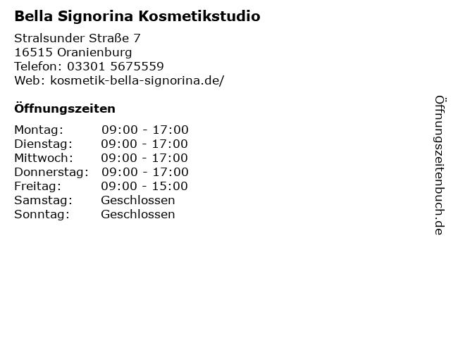 Bella Signorina Kosmetikstudio in Oranienburg: Adresse und Öffnungszeiten