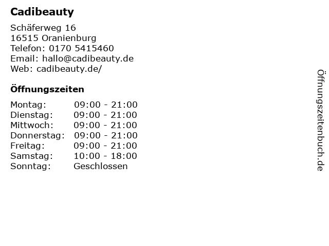 Cadibeauty in Oranienburg: Adresse und Öffnungszeiten