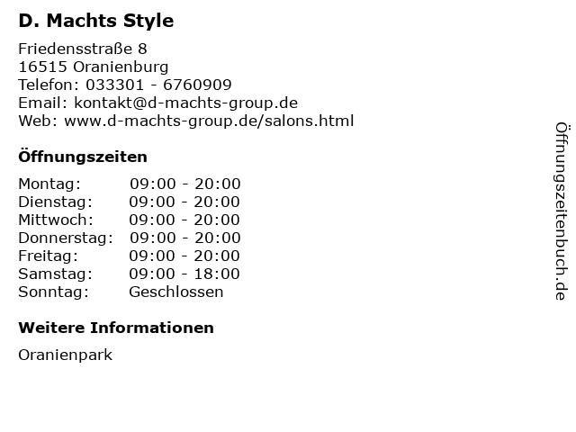 D. Machts Style in Oranienburg: Adresse und Öffnungszeiten