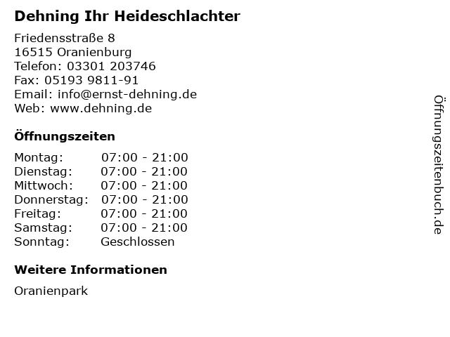 Dehning Ihr Heideschlachter in Oranienburg: Adresse und Öffnungszeiten