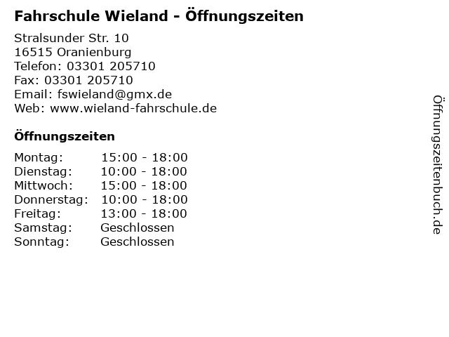 Fahrschule Wieland - Öffnungszeiten in Oranienburg: Adresse und Öffnungszeiten
