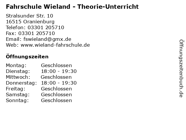 Fahrschule Wieland - Theorie-Unterricht in Oranienburg: Adresse und Öffnungszeiten