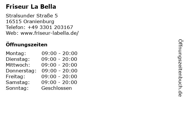 Friseur La Bella in Oranienburg: Adresse und Öffnungszeiten