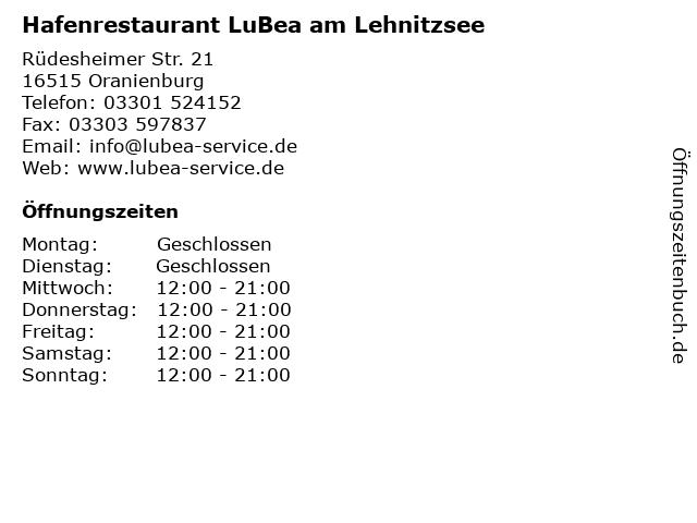 Hafenrestaurant LuBea am Lehnitzsee in Oranienburg: Adresse und Öffnungszeiten