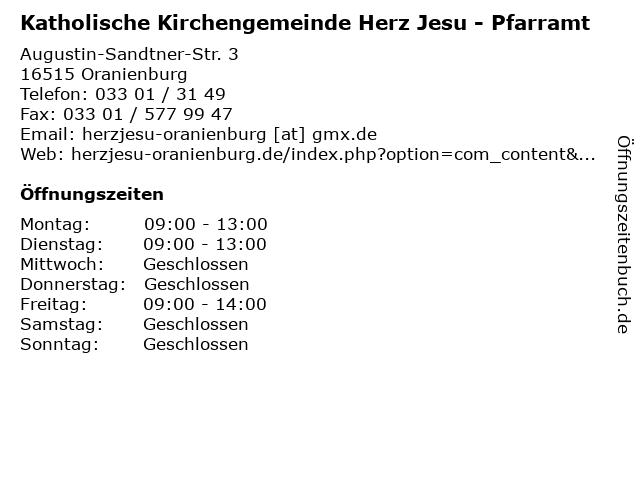 Katholische Kirchengemeinde Herz Jesu - Pfarramt in Oranienburg: Adresse und Öffnungszeiten
