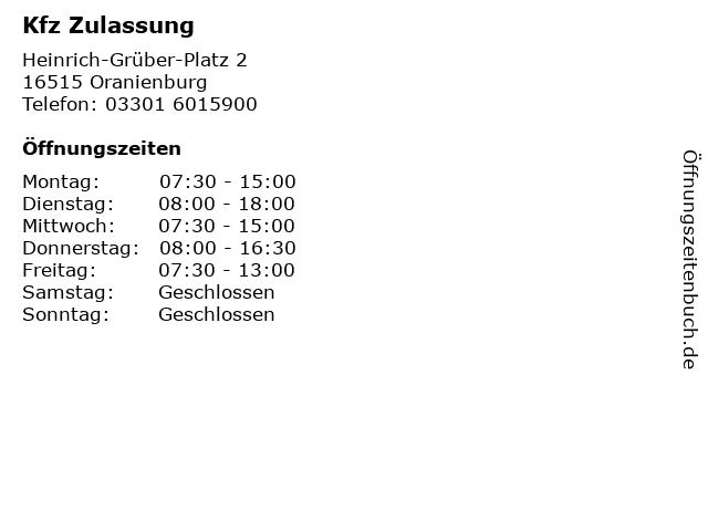 Kfz Zulassung in Oranienburg: Adresse und Öffnungszeiten