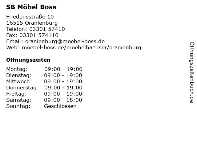 ᐅ öffnungszeiten Sb Möbel Boss Friedensstraße 10 In Oranienburg