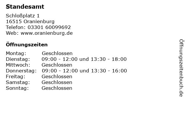 Standesamt in Oranienburg: Adresse und Öffnungszeiten