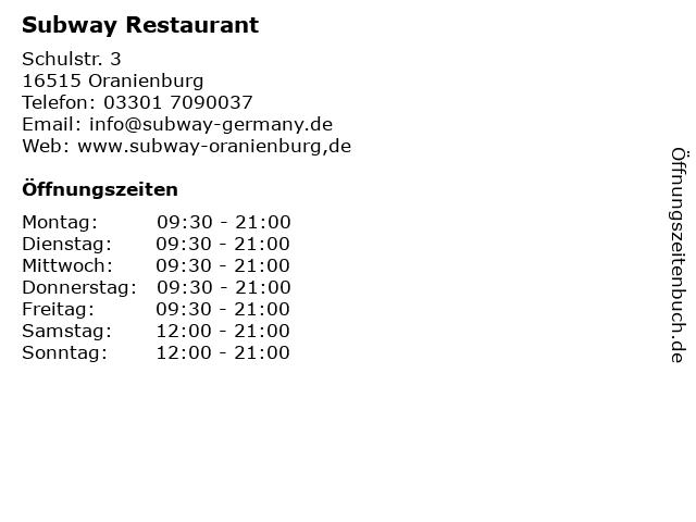 Subway Restaurant in Oranienburg: Adresse und Öffnungszeiten
