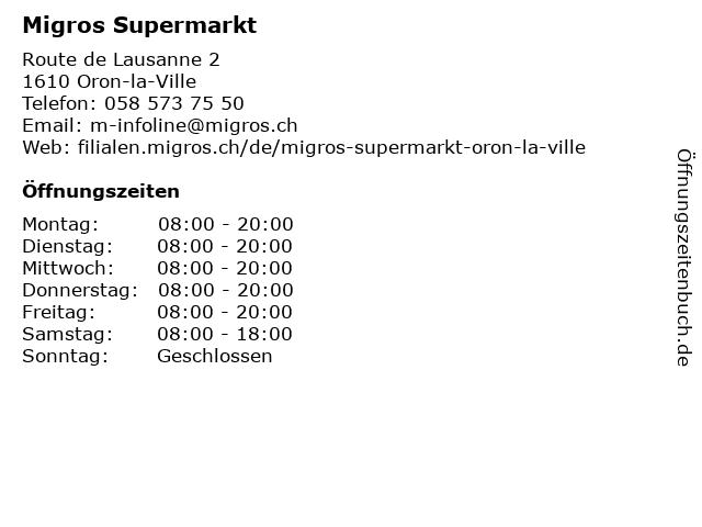 Migros Supermarkt in Oron-la-Ville: Adresse und Öffnungszeiten