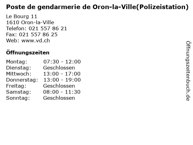 Poste de gendarmerie de Oron-la-Ville(Polizeistation) in Oron-la-Ville: Adresse und Öffnungszeiten