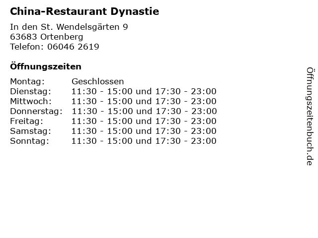 China-Restaurant Dynastie in Ortenberg: Adresse und Öffnungszeiten