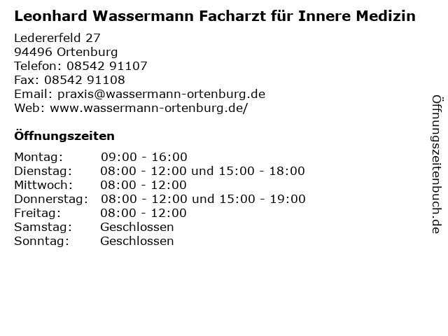 Leonhard Wassermann Facharzt für Innere Medizin in Ortenburg: Adresse und Öffnungszeiten