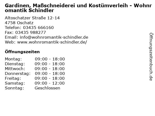 Gardinen, Maßschneiderei und Kostümverleih - Wohnromantik Schindler in Oschatz: Adresse und Öffnungszeiten