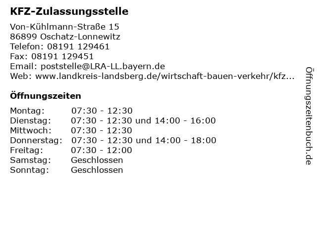 KFZ-Zulassungsstelle in Oschatz-Lonnewitz: Adresse und Öffnungszeiten