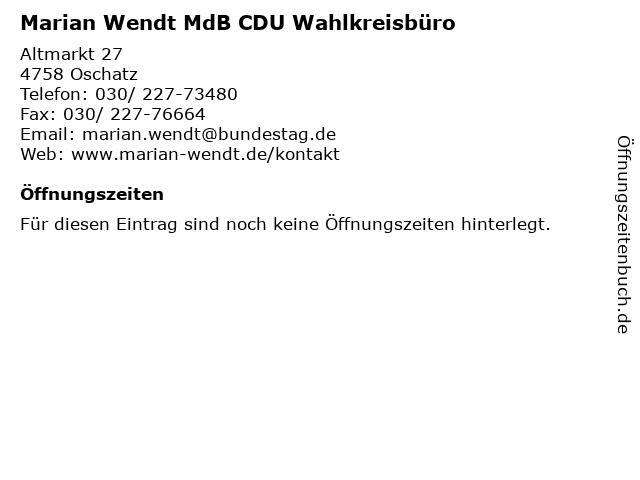 Marian Wendt MdB CDU Wahlkreisbüro in Oschatz: Adresse und Öffnungszeiten