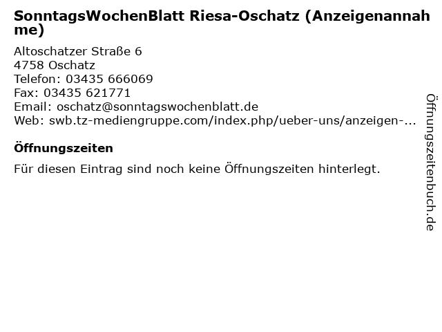 SonntagsWochenBlatt Riesa-Oschatz (Anzeigenannahme) in Oschatz: Adresse und Öffnungszeiten