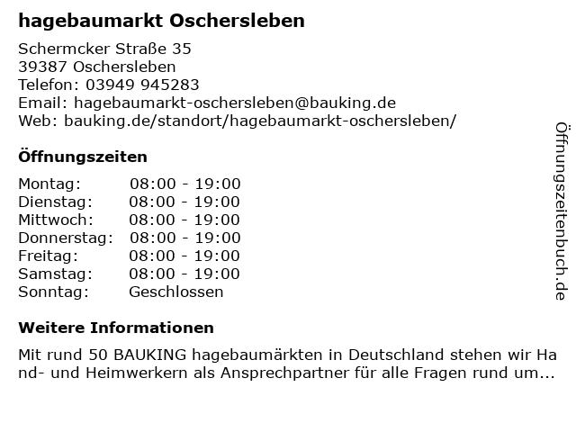 Hagebaumarkt - Baustoffcenter Oschersleben GmbH & Co. KG in Oschersleben: Adresse und Öffnungszeiten