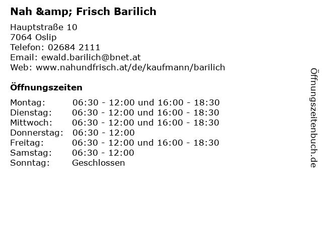 Nah & Frisch Barilich in Oslip: Adresse und Öffnungszeiten