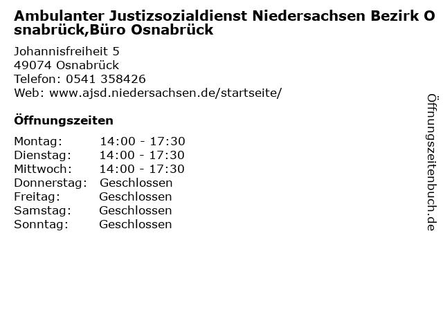 Ambulanter Justizsozialdienst Niedersachsen Bezirk Osnabrück,Büro Osnabrück in Osnabrück: Adresse und Öffnungszeiten