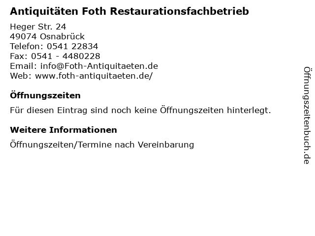 ᐅ öffnungszeiten Antiquitäten Foth Restaurationsfachbetrieb