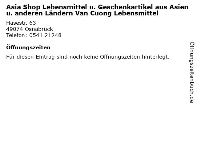 Asia Shop Lebensmittel u. Geschenkartikel aus Asien u. anderen Ländern Van Cuong Lebensmittel in Osnabrück: Adresse und Öffnungszeiten