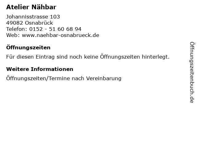 Atelier Nähbar in Osnabrück: Adresse und Öffnungszeiten