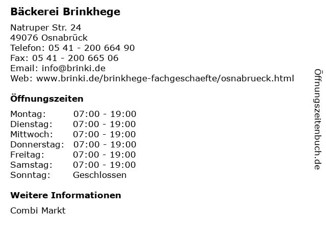 Bäckerei Brinkhege in Osnabrück: Adresse und Öffnungszeiten
