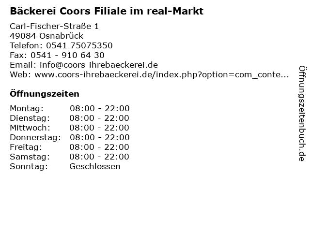 Bäckerei Coors Filiale im real-Markt in Osnabrück: Adresse und Öffnungszeiten