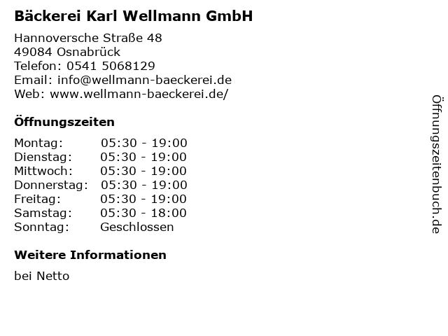 Bäckerei Karl Wellmann GmbH in Osnabrück: Adresse und Öffnungszeiten