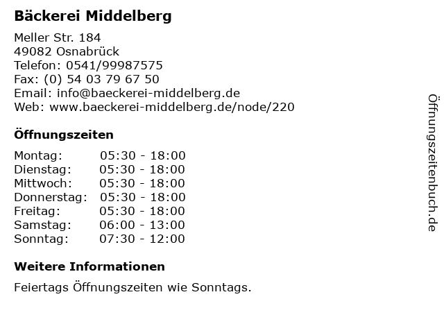 Bäckerei Middelberg in Osnabrück: Adresse und Öffnungszeiten