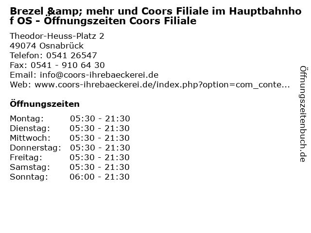 Brezel & mehr und Coors Filiale im Hauptbahnhof OS - Öffnungszeiten Coors Filiale in Osnabrück: Adresse und Öffnungszeiten