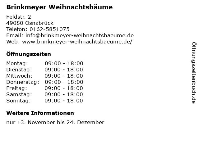 Brinkmeyer Weihnachtsbäume in Osnabrück: Adresse und Öffnungszeiten
