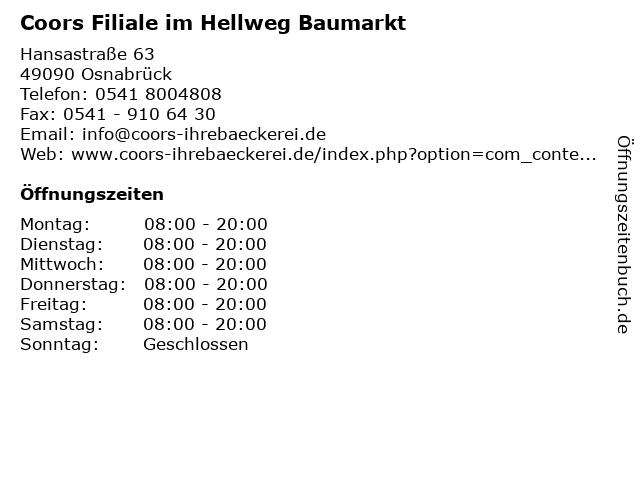 Coors Filiale im Hellweg Baumarkt in Osnabrück: Adresse und Öffnungszeiten