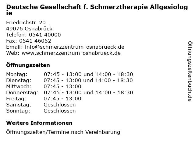 Deutsche Gesellschaft f. Schmerztherapie Allgesiologie in Osnabrück: Adresse und Öffnungszeiten