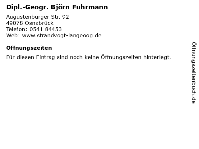 Dipl.-Geogr. Björn Fuhrmann in Osnabrück: Adresse und Öffnungszeiten
