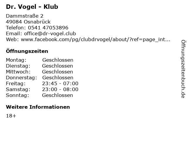 Dr. Vogel - Klub in Osnabrück: Adresse und Öffnungszeiten