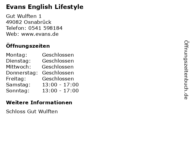 Evans English Lifestyle in Osnabrück: Adresse und Öffnungszeiten