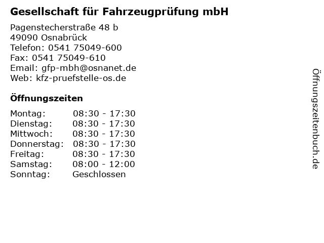 Gesellschaft für Fahrzeugprüfung mbH in Osnabrück: Adresse und Öffnungszeiten