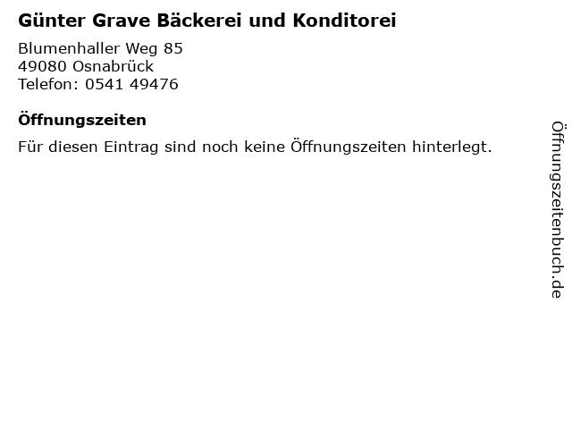 Günter Grave Bäckerei und Konditorei in Osnabrück: Adresse und Öffnungszeiten