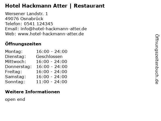 Hotel Hackmann Atter   Restaurant in Osnabrück: Adresse und Öffnungszeiten