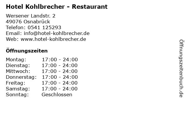 Hotel Kohlbrecher   Restaurant in Osnabrück: Adresse und Öffnungszeiten