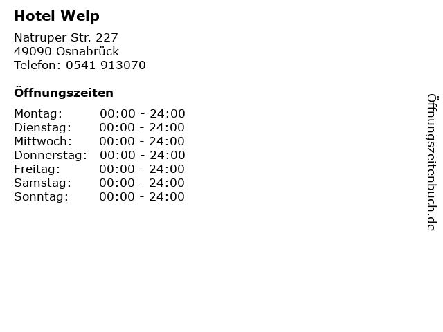 Hotel Welp in Osnabrück: Adresse und Öffnungszeiten
